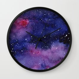 Watercolor Galaxy Nebula Pink Purple Sky Stars Wall Clock