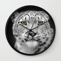 snow leopard Wall Clocks featuring Snow Leopard by Linsey Williams Art