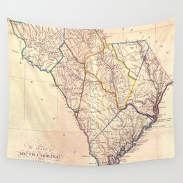 Vintage Map of South Carolina (1818) Wall Tapestry