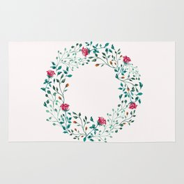 Spring Roses Wreath Pink Blush Rug