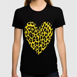 Bright Yellow & Black Leopard Print T-shirt