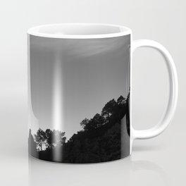 Sun through the mountains and trees. Al sunset Coffee Mug