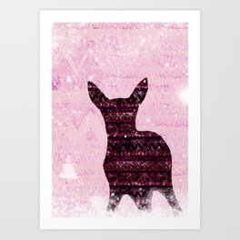 Rehkitz Pattern-Art in Snowland Art Print