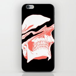 Liquify Skull in black and living coral iPhone Skin