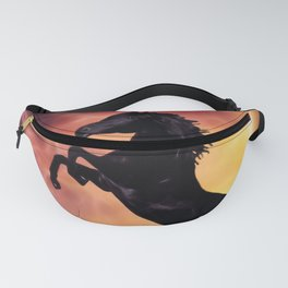 Rearing black horse at sunset Fanny Pack
