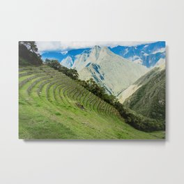 Incan Terraces | Nature Landscape Photography of Incan City Terraces in Peru Mountains Metal Print