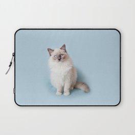 Blue eyed Ragdoll kitty sitting Laptop Sleeve