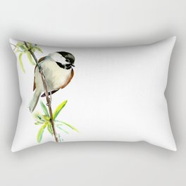 Chickadee on Willow, minimalist bird artwork chickadee painting Rectangular Pillow