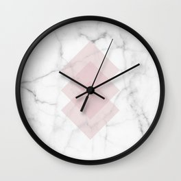 White Marble Scandinavian Geometric Blush Pink Squares Wall Clock