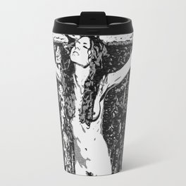 In the woods - black and white bondage, sexy slave girl erotic nude, tied, crucified naked woman Travel Mug