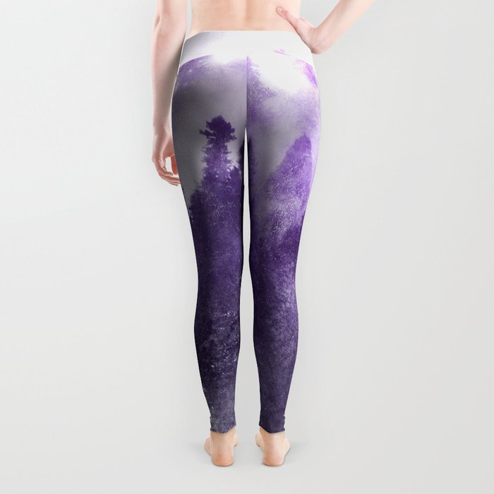 Ultra Violet Forest - And So The Adventure Begins Nature Photography Typography Leggings