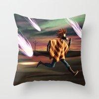 battlefield Throw Pillows featuring Air Raid in the Battlefield by Lukas Stobie