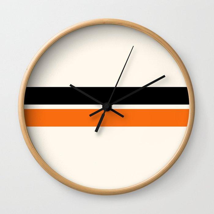 2 Stripes Black Orange Wall Clock