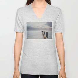 the ocean ... at peace with itself, the tide coming in as the sun sets. Unisex V-Neck