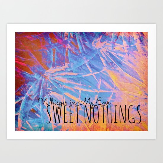 SWEET NOTHINGS - Beautiful Abstract Midnight Romantic Valentine Florals, Eggplant Pink Modern Art Print