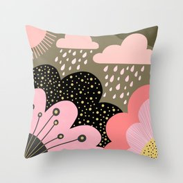 Modern abstract pattern – flowers, clouds and sunshine. Block colors in pink and gold Throw Pillow