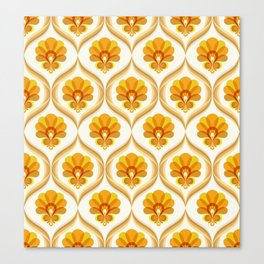 Ivory, Orange, Yellow and Brown Floral Retro Vintage Pattern Canvas Print