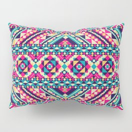 Pink, Teal, and Yellow Aztec Geometric Pillow Sham