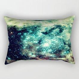 Galaxy Nebula Teal Rectangular Pillow