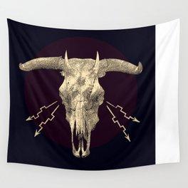 Beelzebub - Evil and dark skull with devil horns. Wall Tapestry