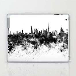 Kuwait City skyline in black watercolor Laptop & iPad Skin