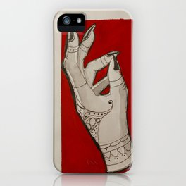 Hand of Fate -Red Color Block Henna Tattoo Girl Witch Hand iPhone Case