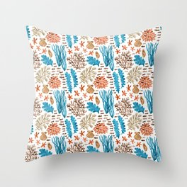Coral Reef Watercolor Pattern- Teal Throw Pillow