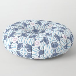 Morrison geo floral blue and white pattern Floor Pillow