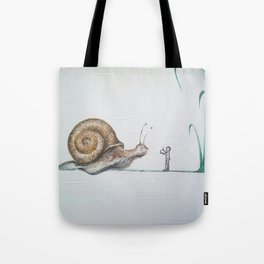 snail and little boy Tote Bag