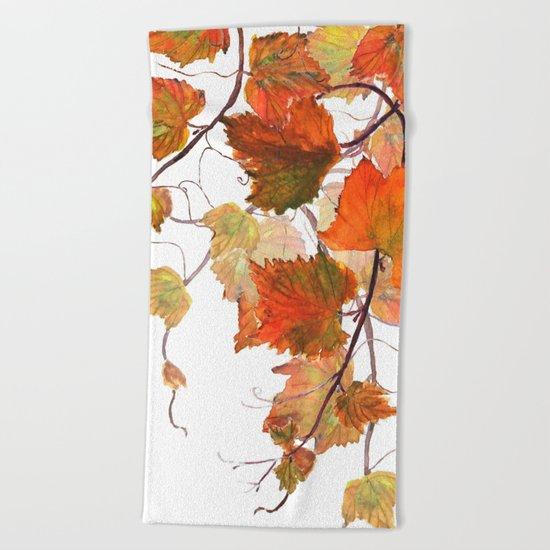 orange grapevine 2 Beach Towel