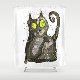 Big fat black cat Shower Curtain