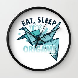 Eat Sleep Origami Repeat Japanese Paper Crafting Paper Folds Art Craft Gifts Wall Clock
