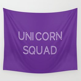 Unicorn Squad - Purple and White Wall Tapestry