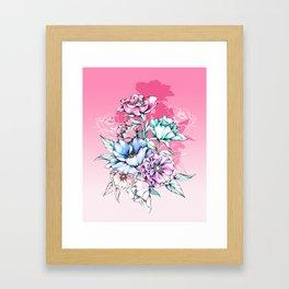 Poppy Bouquet- Pink Framed Art Print
