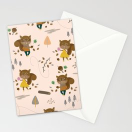 Mr and Mrs Squirrel Apricot Background Stationery Cards