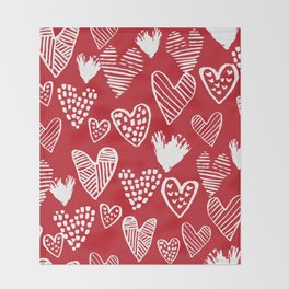 Herats red and white pattern minimal valentines day cute girly gifts hand drawn love patterns Throw Blanket