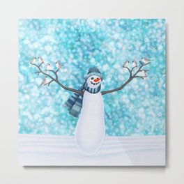 snowman and tufted titmouse flock Metal Print