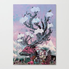 Journeying Spirit (deer) sunset Canvas Print