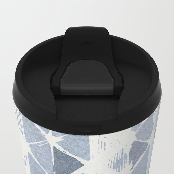 Simply Braided Chevron Indigo Blue on Lunar Gray Metal Travel Mug