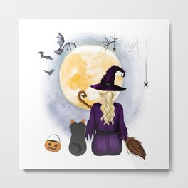 Yorkshire-Terrier  Dog  & Witch hanging witch broom Best Friends Halloween Dog Lover Costume Metal Print