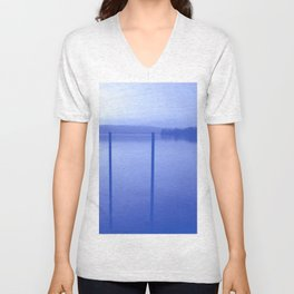 Lake in Blue Unisex V-Neck