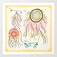 dream catcher Art Prints featuring Dream Catcher by famenxt