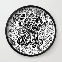 Lazy Summer Days Black And White Poster Wall Clock