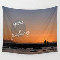 dad Wall Tapestries featuring Gone fishing with dad by Light Wanderer
