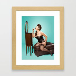 """""""Touch-up"""" - The Playful Pinup - Sexy Pinup Girl Refreshing Lipstick by Maxwell H. Johnson Framed Art Print"""