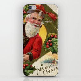 Antique Santa wih pipe Merry Christmas iPhone Skin