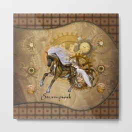 Wonderful steampunk horse with white mane Metal Print