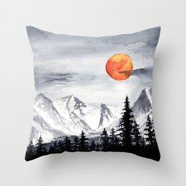 Alaskan Snowy Mountains Throw Pillow