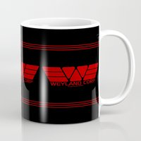 prometheus Mugs featuring Weyland-Yutani Corp by IIIIHiveIIII