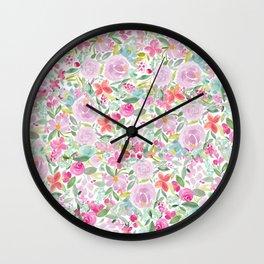 Modern pink purple loose floral watercolor painting Wall Clock